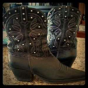 COLE HAAN Vintage Studded Leather Cowboy Boots